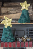Δέντρα εστιών τεχνών διακοσμήσεων Χριστουγέννων Στοκ εικόνα με δικαίωμα ελεύθερης χρήσης