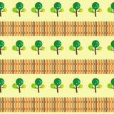 Δέντρα και άνευ ραφής σχέδιο φρακτών Στοκ Φωτογραφίες