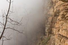 Δέντρα και απότομος βράχος βράχου στην υδρονέφωση, που σε Mezmay στοκ φωτογραφία