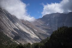 Δέντρα και απότομος βράχος στο υπόβαθρο στα βουνά του Ιμαλαίαυ, Νεπάλ Στοκ Εικόνες
