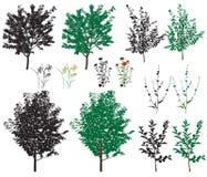 Δέντρα και λουλούδια Διανυσματική απεικόνιση