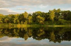 Δέντρα και σύννεφα που απεικονίζονται στο νερό Στοκ φωτογραφία με δικαίωμα ελεύθερης χρήσης