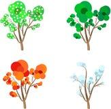 Δέντρα κινούμενων σχεδίων του Four Seasons: Άνοιξη, καλοκαίρι, φθινόπωρο και χειμώνας Διανυσματική απεικόνιση