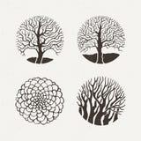 Δέντρα κύκλων καθορισμένα επίσης corel σύρετε το διάνυσμα απεικόνισης Γεωμετρικός αριθμός σχεδίων Στοκ Φωτογραφίες