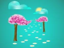 Δέντρα με το άνθος διανυσματική απεικόνιση