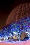 Δέντρα οδών που διακοσμούνται στο υπόβαθρο του τσίρκου Yekaterinburg Στοκ Εικόνες