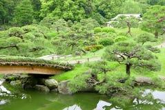 Δέντρα πεύκων, μονοπάτι, γέφυρα και ιαπωνικό κτήριο περίπτερων Στοκ εικόνες με δικαίωμα ελεύθερης χρήσης