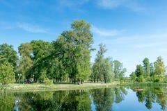 Δέντρα που αυξάνονται κοντά στη λίμνη σε ένα πάρκο την άνοιξη μπλε σύννεφων πλήρες πράσινο τοπίο εστίασης πεδίων ημέρας οφειλόμεν Στοκ Φωτογραφία