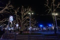 Δέντρα που διακοσμούνται για τα Χριστούγεννα Όμορφος φωτισμός στοκ φωτογραφίες