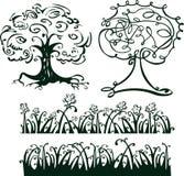 δέντρα προτύπων χλόης σχεδίου ελεύθερη απεικόνιση δικαιώματος