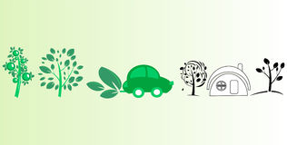δέντρα σπιτιών αυτοκινήτων Στοκ φωτογραφία με δικαίωμα ελεύθερης χρήσης
