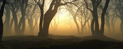 Δέντρα στην ομίχλη Ο καπνός στο δάσος απεικόνιση αποθεμάτων