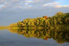 Δέντρα στην προκυμαία που απεικονίζεται στο νερό Στοκ φωτογραφία με δικαίωμα ελεύθερης χρήσης
