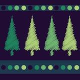 δέντρα σχεδίου Χριστουγέννων καρτών Στοκ Εικόνες