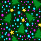 Δέντρο, άνευ ραφής σχέδιο σφαιρών αστεριών Στοκ εικόνες με δικαίωμα ελεύθερης χρήσης