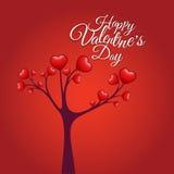 Δέντρο αγάπης, ημέρα του ευτυχούς βαλεντίνου Στοκ εικόνες με δικαίωμα ελεύθερης χρήσης