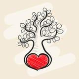 Δέντρο αγάπης με τα φύλλα καρδιών Στοκ Φωτογραφία