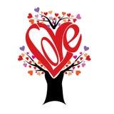 Δέντρο αγάπης με τα φύλλα καρδιών Στοκ Φωτογραφίες