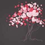 Δέντρο αγάπης με τα φύλλα καρδιών Στοκ Εικόνες