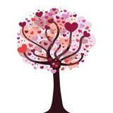 Δέντρο αγάπης με τη διανυσματική απεικόνιση καρδιών Στοκ Εικόνες