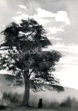 δέντρο γατών κάτω διανυσματική απεικόνιση