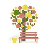 Δέντρο και πάγκος φθινοπώρου ελεύθερη απεικόνιση δικαιώματος