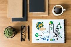 Δέντρο και πράσινο φύλλο W οικολογίας γήινων σφαιρών ημέρας παγκόσμιου περιβάλλοντος Στοκ εικόνες με δικαίωμα ελεύθερης χρήσης
