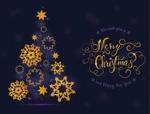 Δέντρο και σφαίρες καρτών Χριστουγέννων με την εγγραφή Διανυσματική απεικόνιση