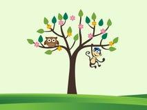 Δέντρο και χαριτωμένα ζώα Στοκ εικόνα με δικαίωμα ελεύθερης χρήσης
