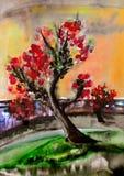 Δέντρο κερασιών στον κήπο watercolor Στοκ Εικόνες