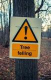 Δέντρο κινδύνου σημαδιών που καταρρίπτει στο δέντρο στο δάσος Στοκ φωτογραφία με δικαίωμα ελεύθερης χρήσης
