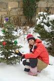δέντρο κοριτσιών Χριστου& Στοκ εικόνες με δικαίωμα ελεύθερης χρήσης