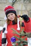 δέντρο κοριτσιών Χριστου& Στοκ Εικόνες