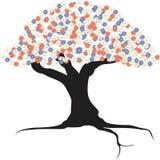 Δέντρο, λουλούδια, λογότυπο, διάνυσμα, εικονογράφος ελεύθερη απεικόνιση δικαιώματος