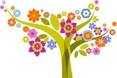Δέντρο με τα λουλούδια ελεύθερη απεικόνιση δικαιώματος
