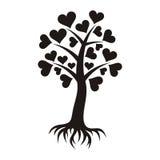 Δέντρο με τις καρδιές και τις ρίζες Στοκ Εικόνα