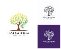 Δέντρο με το πρότυπο σχεδίου λογότυπων εγκεφάλου, ζωηρόχρωμο διάνυσμα σχεδίου λογότυπων εγκεφάλου Στοκ Εικόνα