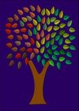 δέντρο νύχτας χρωμάτων Στοκ Φωτογραφία