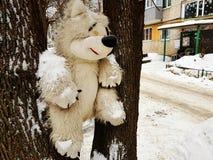 Δέντρο παιχνιδιών των μεγάλων παιδιών - αντέξτε ή σκίουρος στοκ φωτογραφία