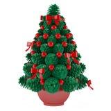 Δέντρο παιχνιδιών Χριστουγέννων φιαγμένο από κώνους με τα κόκκινα παιχνίδια Στοκ εικόνες με δικαίωμα ελεύθερης χρήσης