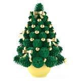 Δέντρο παιχνιδιών Χριστουγέννων φιαγμένο από κώνους με τα χρυσά παιχνίδια Στοκ εικόνα με δικαίωμα ελεύθερης χρήσης
