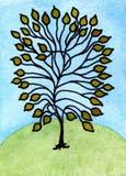 Δέντρο παραμυθιού ζωγραφικής Watercolor Στοκ Εικόνες