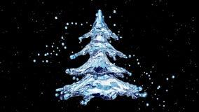 Δέντρο παφλασμών νερού Χριστουγέννων στο μαύρο υπόβαθρο ελεύθερη απεικόνιση δικαιώματος