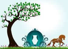 Δέντρο, πεταλούδα και horse-drawn μεταφορά - πλήρες χρώμα Στοκ φωτογραφίες με δικαίωμα ελεύθερης χρήσης