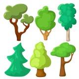 Δέντρο που τίθεται πράσινο στο ύφος κινούμενων σχεδίων Διάνυσμα θερινών δέντρων clipart στο άσπρο υπόβαθρο Φυσική τέχνη συνδετήρω διανυσματική απεικόνιση