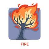 Δέντρο πυρκαγιών φυσικής καταστροφής πυρκαγιάς απομονωμένο στο φλόγα εικονίδιο απεικόνιση αποθεμάτων