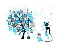 Δέντρο πώλησης Χριστουγέννων, γάτα μόδας με την τσάντα αγορών Στοκ φωτογραφία με δικαίωμα ελεύθερης χρήσης