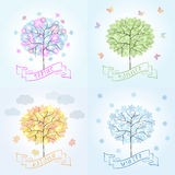 Δέντρο σε τέσσερις εποχές - άνοιξη, καλοκαίρι, φθινόπωρο, χειμώνας Στοκ Εικόνα