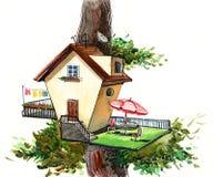 δέντρο σπιτιών ελεύθερη απεικόνιση δικαιώματος