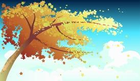 Δέντρο στη διανυσματική απεικόνιση φθινοπώρου Στοκ εικόνα με δικαίωμα ελεύθερης χρήσης